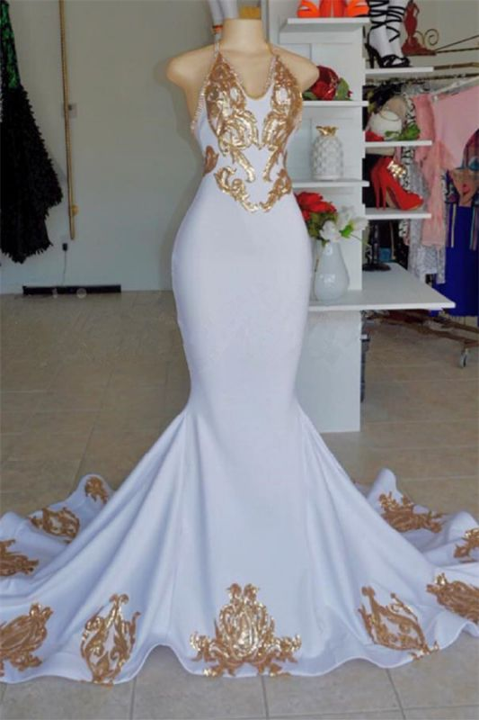 Halter V-Neck Sleeveless Mermaid Peom Gowns | Sexy Gold Appliques Prom Dresses Cheap