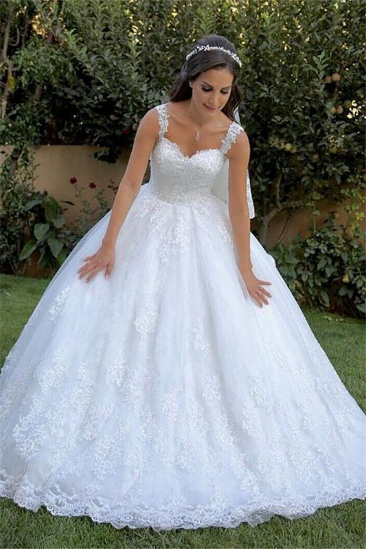 Elegant Lace Appliques Straps Wedding Dresses | Sleeveless  Mermaid Ball Gown Cheap Bridal Gowns
