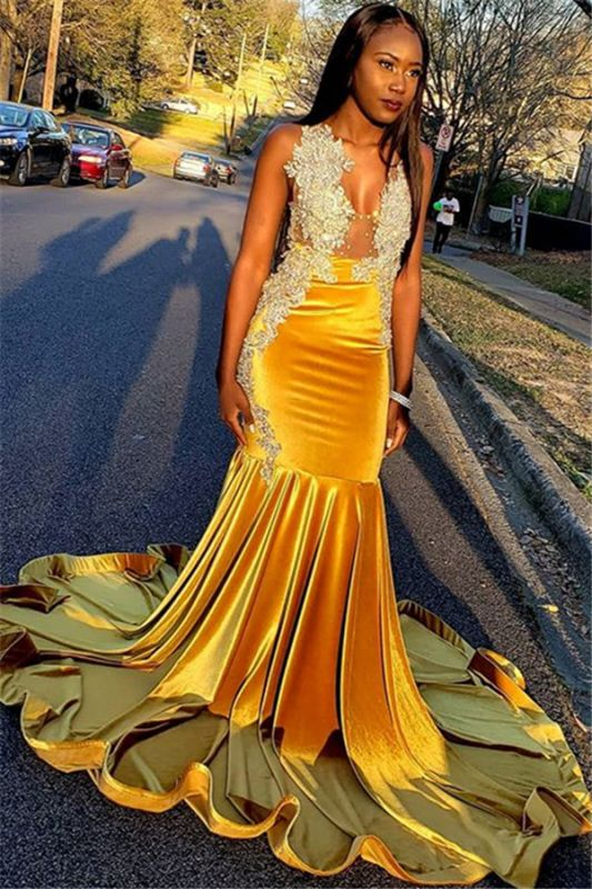 Glamorous Yellow Velvet V-Neck Sleeveless Sexy Mermaid Prom Dress