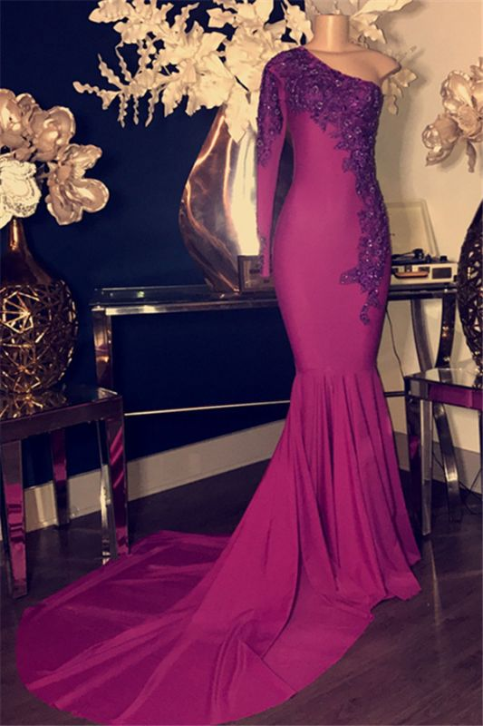 Glamorous Appliques One Shoulder Long Sleeve Mermaid Long Prom Dresses Cheap