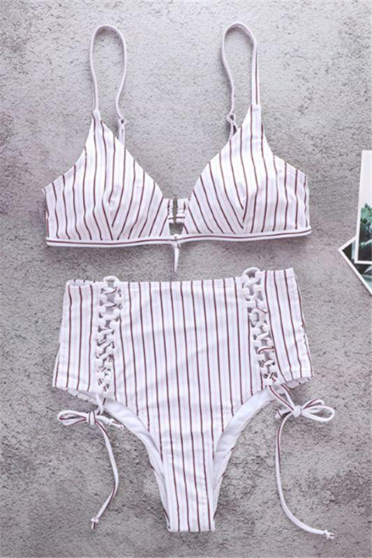 Vintage Ribbed Stripes Bra Two Piece Sexy Bikini Set