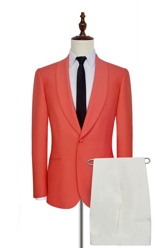 New Arrival Single Breasted One Button 2 Pocket Tailored Suit | Watermelon Red Shawl Collar Custom Suit Groom Wedding Tuxedos