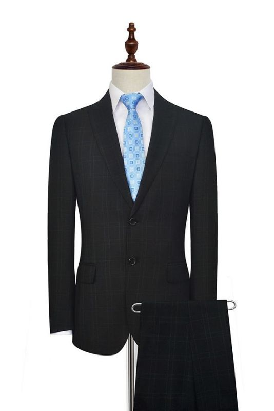 Black Plaid Two Standard Pocket Custom Suit For Formal   Fashion Peaked Lapel Single Breasted Wedding Groom Suits