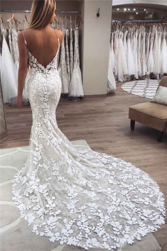 Latest Appliques Spaghetti Straps Wedding Dresses | Open Back  Mermaid Sleeveless Cheap Bridal Gowns