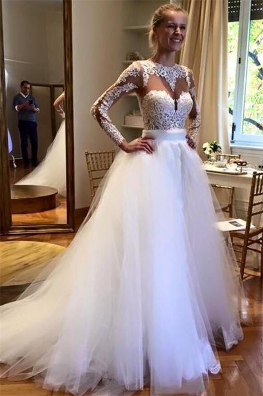 Elegant Appliques Jewel Wedding Dresses Online | Sexy See Through Long Sleeve Cheap Bridal Gowns