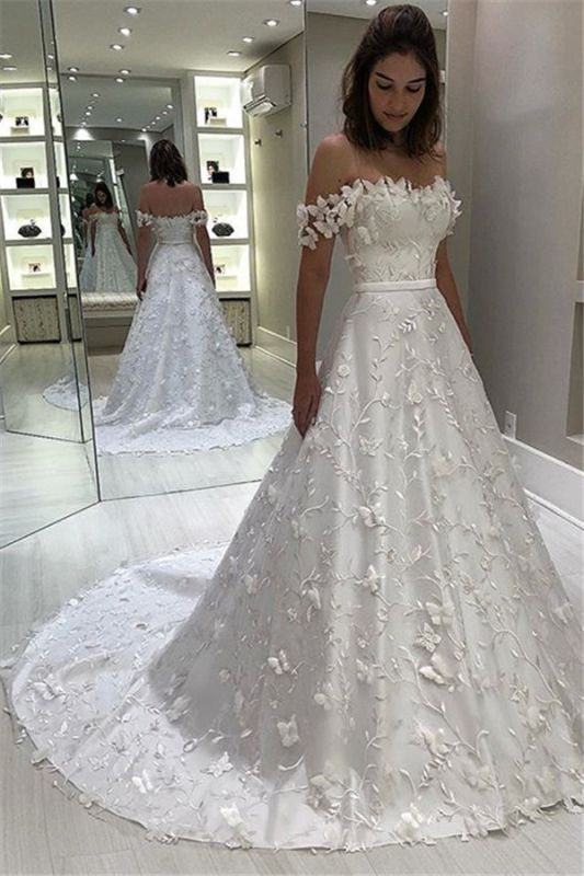 Delicate Off The Shoulder Bridal Gowns Cheap | Sexy Strapless Appliques Ball Gown Wedding Dresses