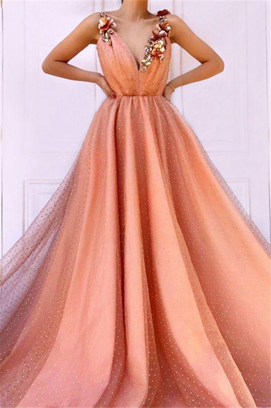 Orange Flower Appliques Straps Sleeveless Tulle  Prom Dress