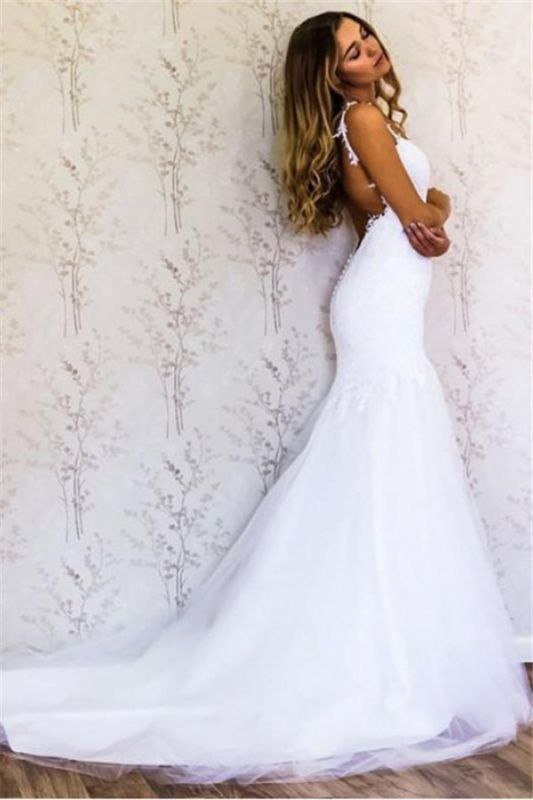 Latest Lace Appliques Straps Wedding Dresses | Open Back Long Sleeve Cheap Bridal Gowns