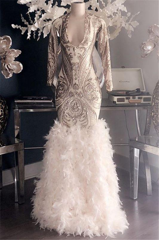 Glamorous Appliques Fur V-Neck Long Sleeve Mermaid Long Prom Dresses Cheap