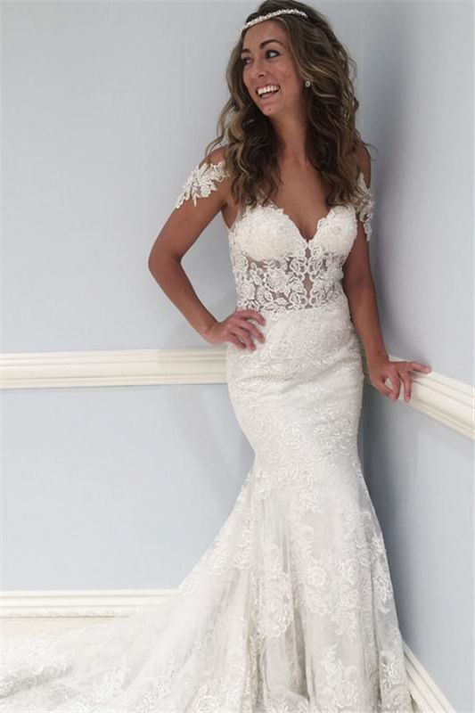 Latest Lace V-Neck Wedding Dresses Sexy | Ruffles See Through Cap Sleeve Cheap Bridal Gowns