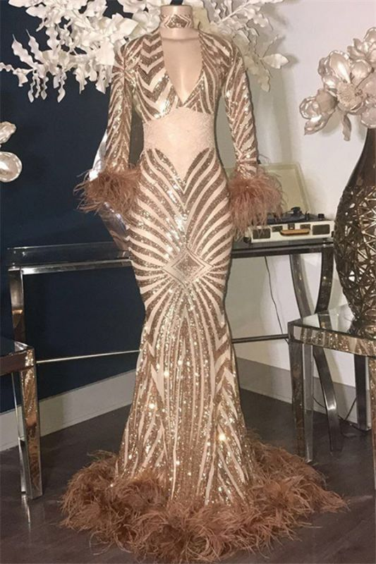 New Arrival Sequins Sexy Prpm Dresses Cheap with Feather | High Neck Mermaid Long Evening Gowns