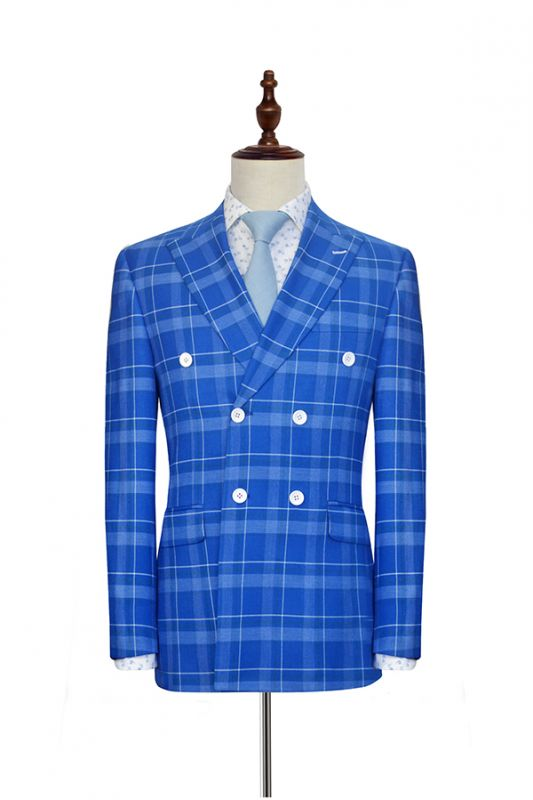 2020 Blue Grid Double Breasted Custom Suit For Men | Modern Peak Lapel 2 Pockets Wedding Suit For Groom