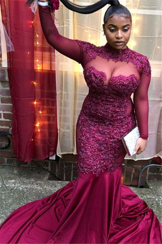 Burgundy High-Neck Long-Sleeves Sheer-Tulle Applique Prom Dress