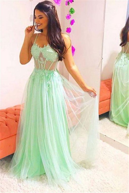 Glamorous Spaghetti-Straps Sheer Tulle Sleeveless Prom Dress