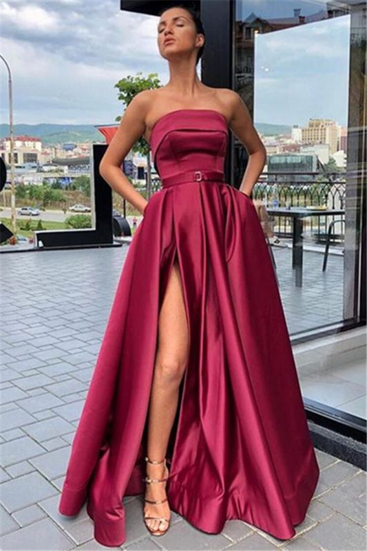 Burgundy Strapless Side-Slit  Evening Gown