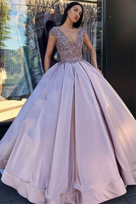 V-neck Sleeveless Crystal Beading Ball-Gown Prom Dresses