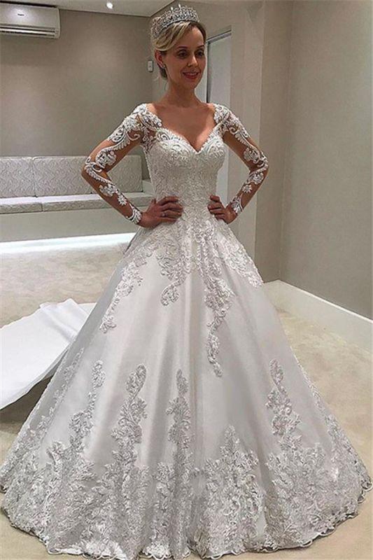 New Arrival Long Sleeve Ball Gown Wedding Dresses | Elegant Appliques Sain Bridal Gowns Cheap