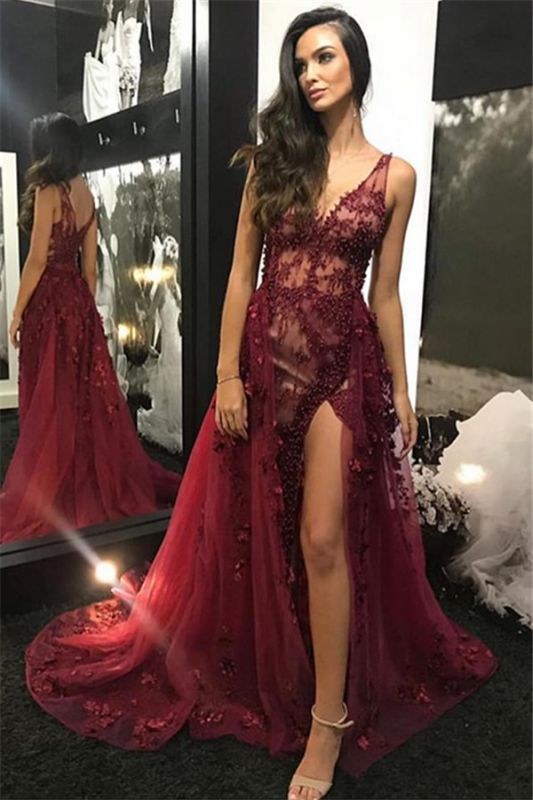 Burgundy Straps V-Neck Lace Beading Side-Slit Tulle Detachable  Evening Gown