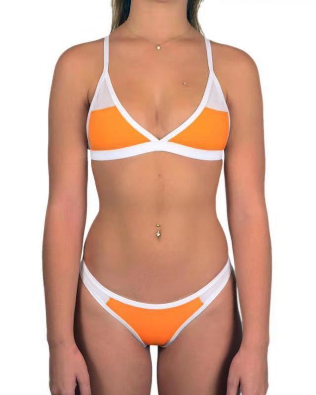 Triangle Pads Colorful Plain Sheer Net Sexy Bikini Sets