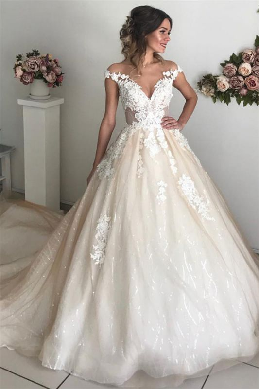 Latest Appliques Off The Shoulder Wedding Dresses Sexy | Sequins Open Back Sleeveless Cheap Bridal Gowns