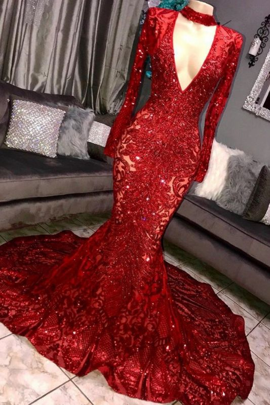 Glamorous Mermaid Long Sleeve Deep V-neck Lace Appliques Long Prom Dresses Cheap