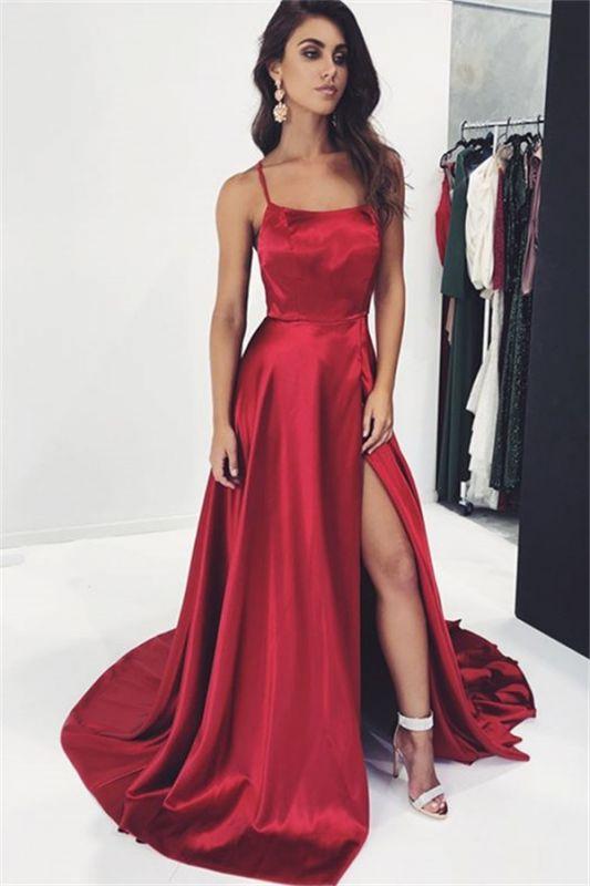 Sexy Burgundy Spaghetti-Straps Side-Slit  Prom Dress