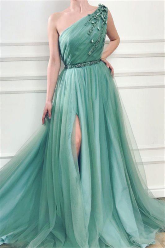 Elegant Appliques One-Shoulder Side-Slit Sleeveless Tulle A-Line Prom Dresses