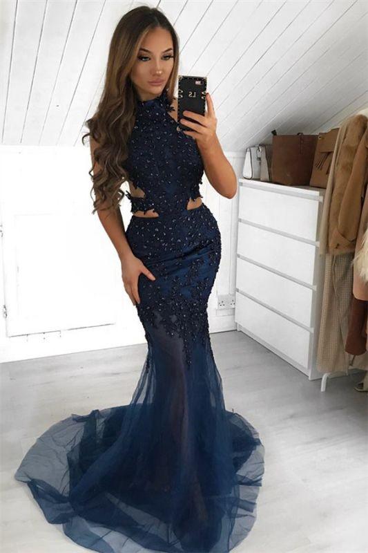 Chic Halter Sleeveless Sheer-Tulle Sexy Mermaid Prom Dress