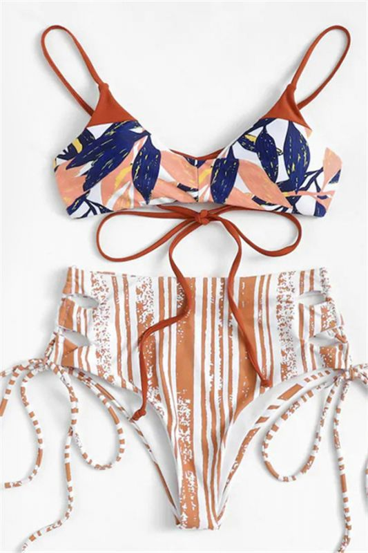 Colorful Patterns Spaghetti Straps Lace-up Sexy Bikini Sets