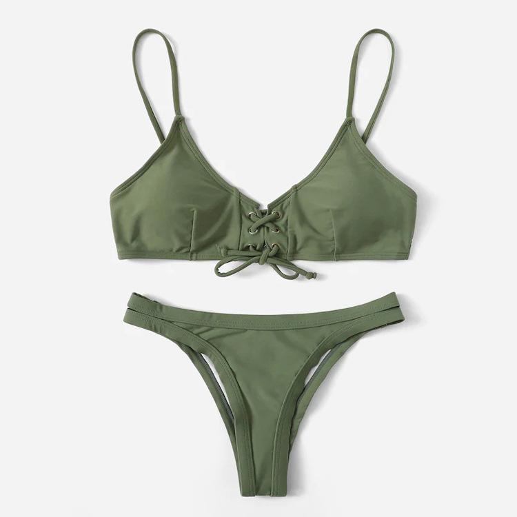 Triangle Pads Lace-up Straps Plain Two Piece Sexy Bikini Sets