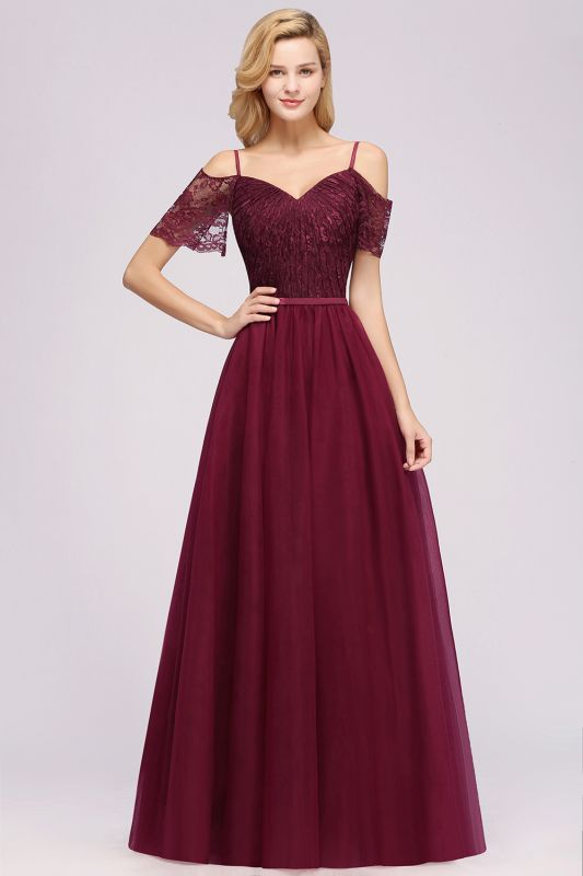 Chiffon Lace Sweetheart Spaghetti Straps Short-Sleeves Floor-Length Bridesmaid Dresses with Ruffles