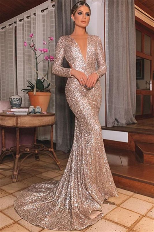 Sexy Silver Backless Lone-Sleeves V-Neck Sequins Mermaid Evening Dresses