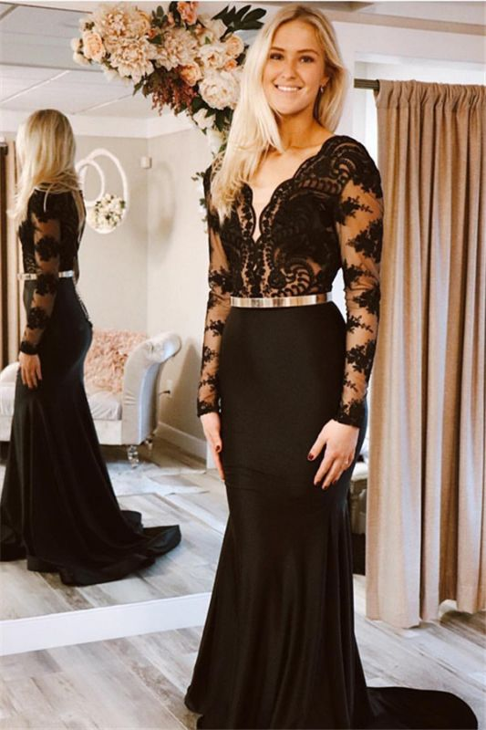 Glamorous Black Lone-Sleeves Lace Applique Long Sexy Mermaid Prom Dresses