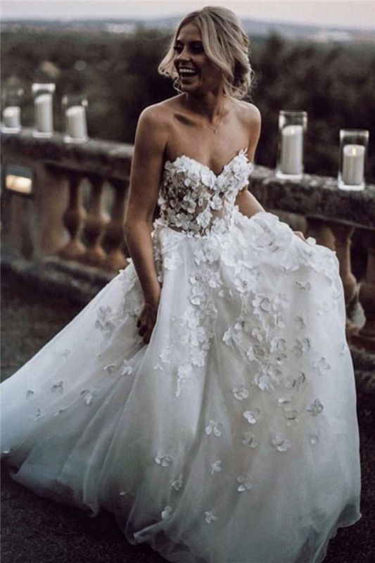 Sexy Elegant Jewel Wedding Dresses | Cheap Lng Sleeve Backless Flowers Bridal Gowns