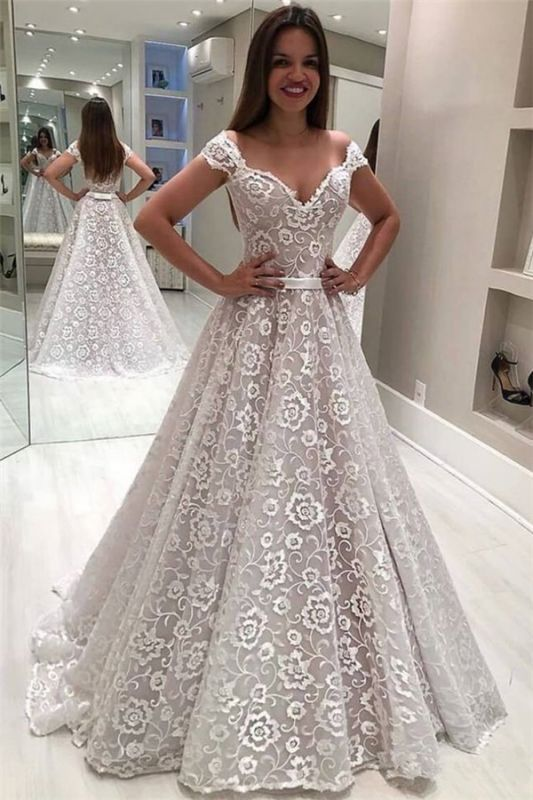 Gorgeous Lace Off The Shoulder Wedding Dresses   Cheap Ruffles Pearls Sleeveless Flowers Bridal Gowns