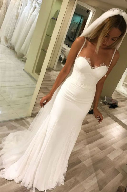 Latest Spaghetti Straps Lace Appliques Wedding Dresses | Sexy See Through Sleeveless Cheap Bridal Gowns