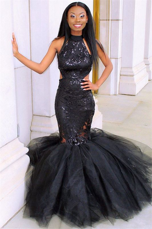 Sexy Blcak Halter Sleeveless Applique Tulle Sexy Mermaid Prom Dress