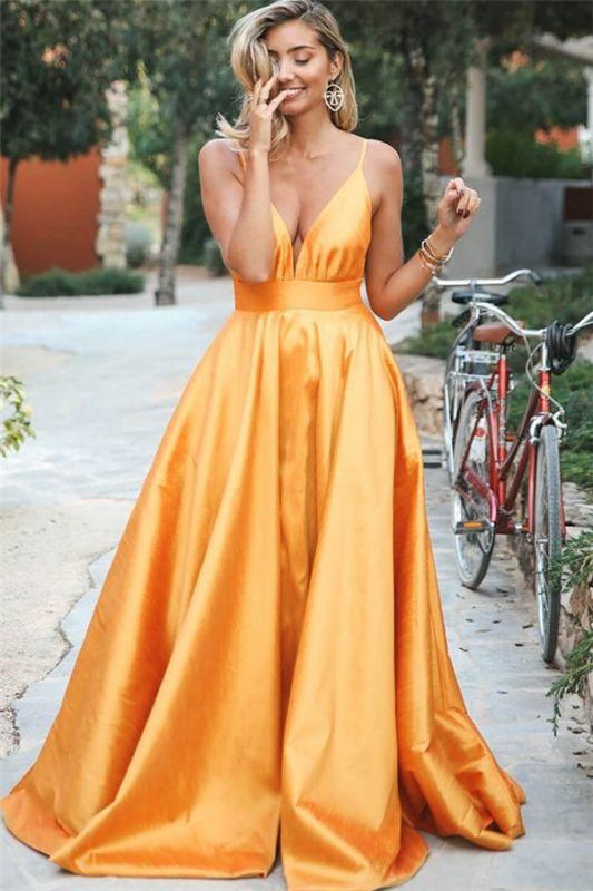Glamorous Orange Spaghetti-Straps Sleeveless V-Neck  Prom Dress