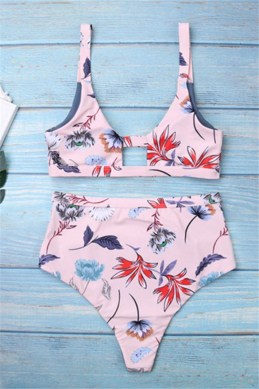Flower Prints Pink Two Piece Lovely Sexy Bikini Swimwear