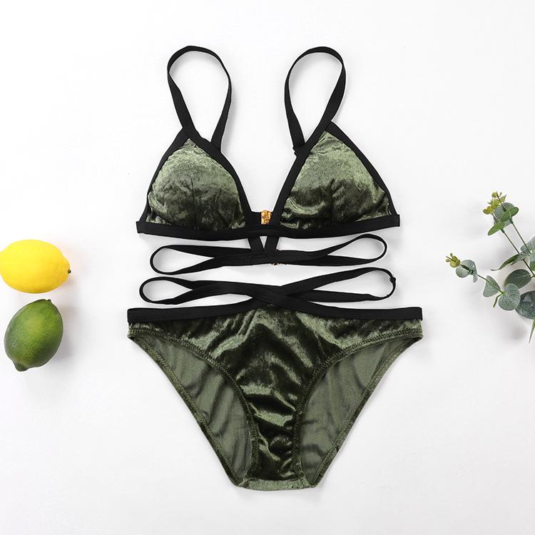 Velvet Triangle Pads  Bandage Two Piece Sexy Bikini Sets