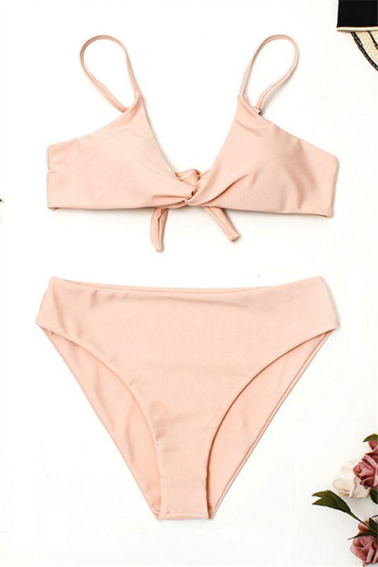Vintage Nude Pink Knot Straps Two Piece Sexy Bikinis