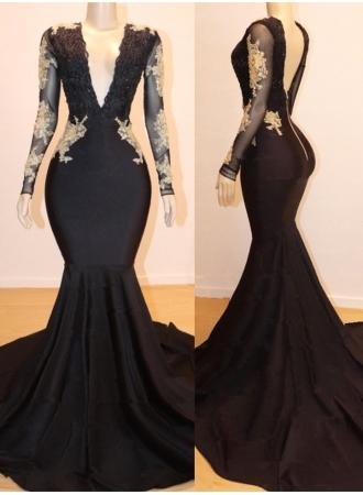 Long Sleeve Appliques Mermaid V-neck Long Prom Dresses Cheap Online