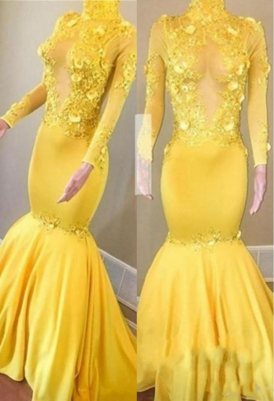Yellow High Neck Flower Appliques Sexy Mermaid Long Sleeves Prom Dresses