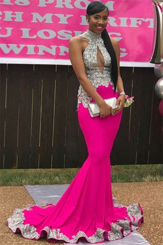 Sexy High-Neck Backless Sleeveless Applique Sexy Mermaid Prom Dress