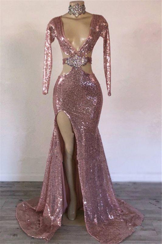 Glamorous Sequins V-Neck Long Sleeve Side Slit Mermaid Long Prom Dresses Cheap