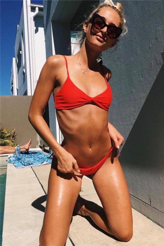 Multiple Colors Spaghetti Straps Plain Sexy Bikini Beachwear