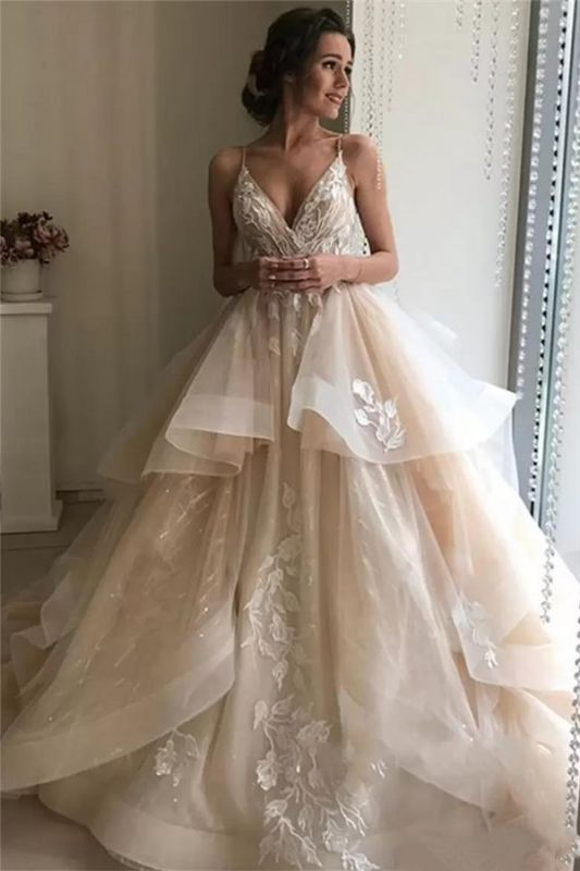 Latest Appliques Sexy  See Through Wedding Dresses | Spaghetti Straps Sleeveless Open Back Cheap Bridal Gowns