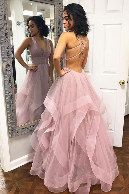 Sexy Pink Halter Ruffle Sleeveless A-Line Prom Dresses