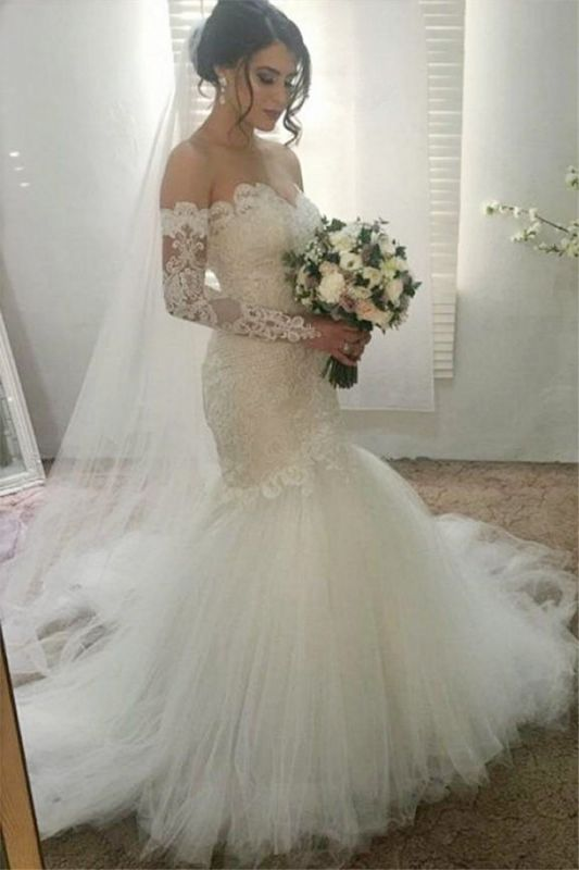 Elegant Lace Appliques Sweetheart Wedding Dresses   Sexy See Through Long Sleeve Cheap Bridal Gowns