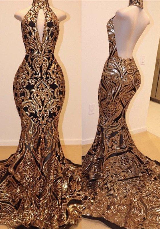Halter Keyhole Neckline Sequins Appliques Mermaid Long Prom Dresses Cheap